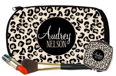 Cosmetic Bag-Black Khaki Leopard