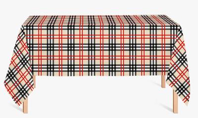 CUSTOM COTTON TABLE CLOTH- Black and Khaki Plaid