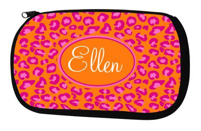Cosmetic Bag-Orange Leopard