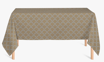 CUSTOM COTTON TABLE CLOTH- Silver and Gold Wave