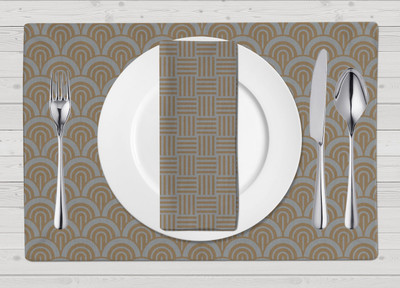 Placemats-Silver and Gold Wave Placemat and Whimsy Napkin