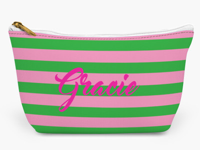 Accessory Zip T-Tote- Pink and Green Rugby Stripe