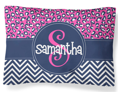 PILLOWCASE-Navy Chevron Leopard