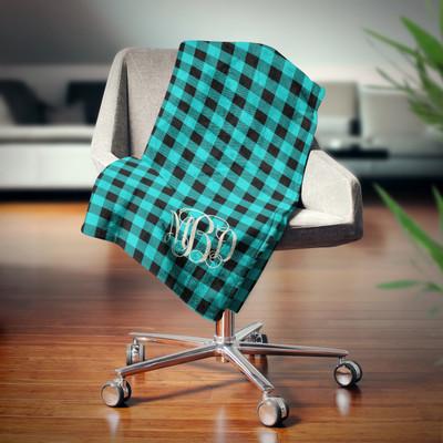 Blanket- Buffalo Plaid Teal Monogram