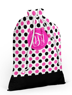 Laundry Bag- Black and Pink Dots