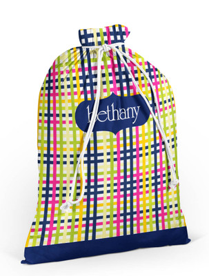 Laundry Bag- Navy Raspberry Plaid