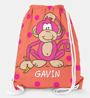 Drawstring Backpack- Hot Pink Monkey