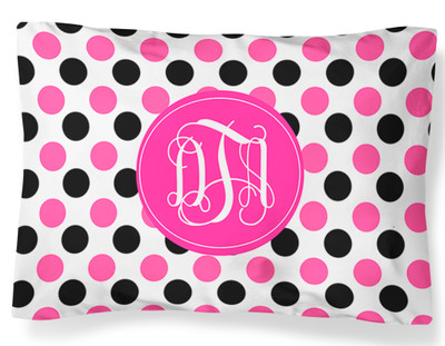 PILLOWCASE-Black and Pink Polka Dots