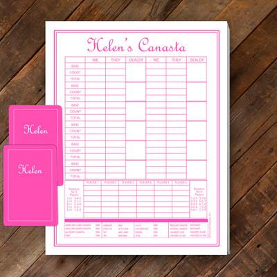 Canasta Pad Gift Set- Helen- Hot Pink