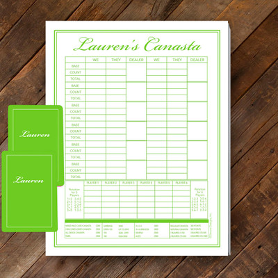 Canasta Pad Gift Set- Lauren- Lime Green