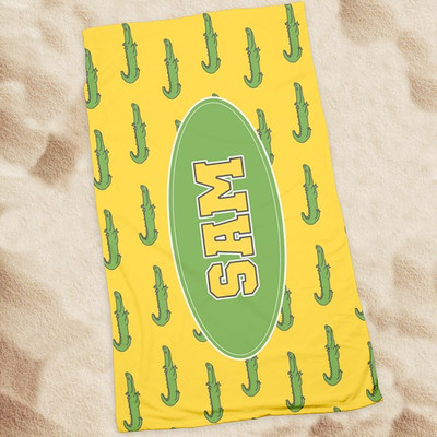 Beach Towel-Yellow Alligator
