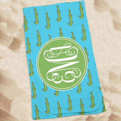 Beach Towel-Island Blue Alligator