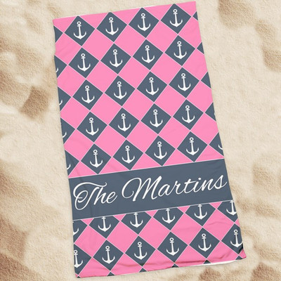 Beach Towel-Pink Anchors
