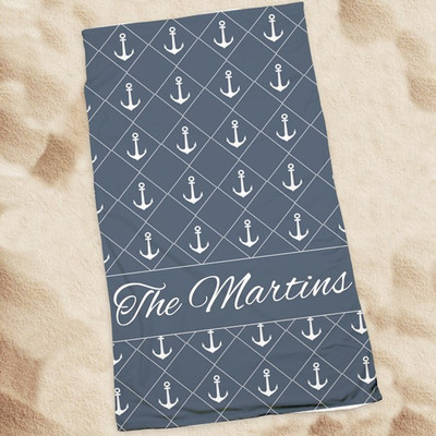 Beach Towel-Navy Anchors
