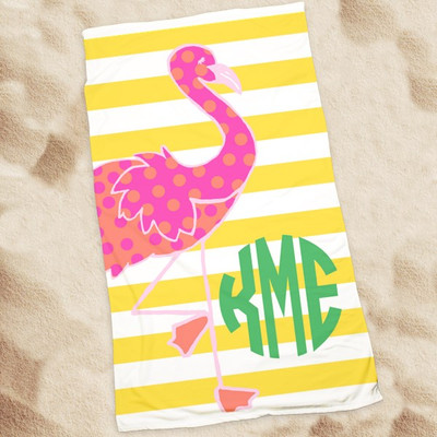 Beach Towel-Flossie the Flamingo