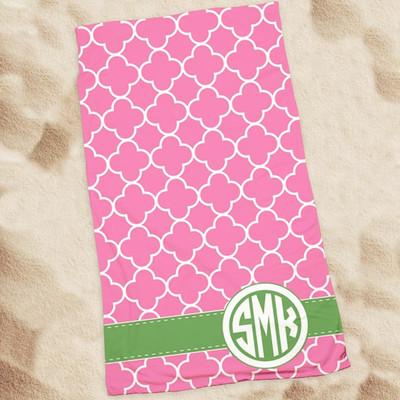 Beach Towel-Raspberry Clover