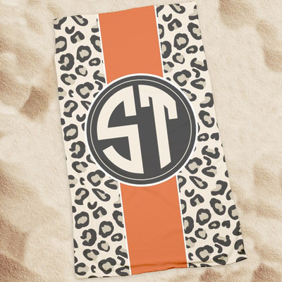 Beach Towel-Leopard Stripe