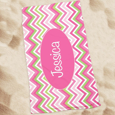 Beach Towel-Multi Pink Chevron