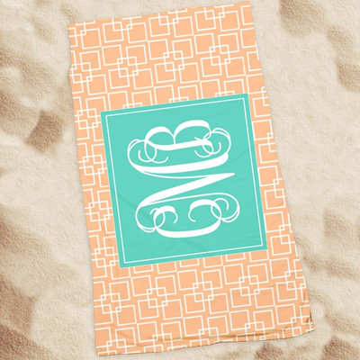 Beach Towel-Peach Squares