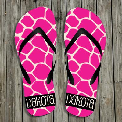 Flip Flops-Pink GIraffe