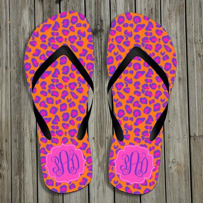Flip Flops-Orange Purple Leopard