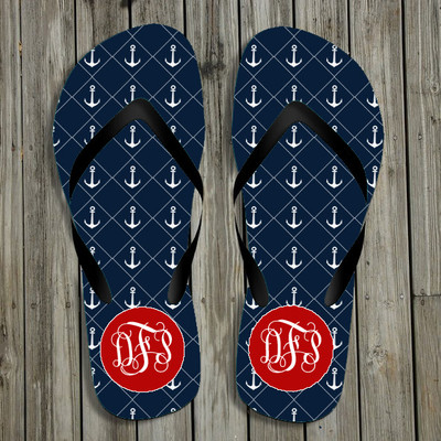 Flip Flops-Navy Anchors