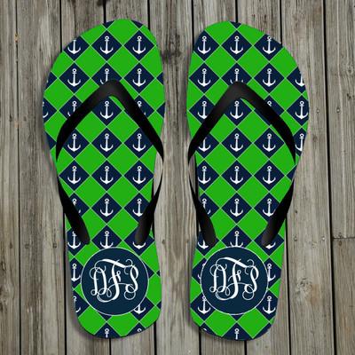 Flip Flops-Green Anchors