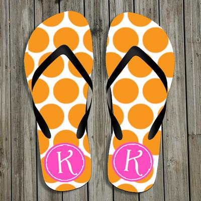 Flip Flops-Orange Polka Dots