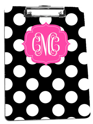 Clipboard-Black Polka Dot Reversed