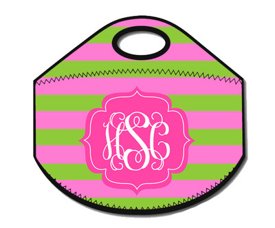 Lunch Tote- Lime and Pink Rugby Stripe