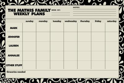 Weekly Jumbo Planner Pad-Black and Khaki Swirl
