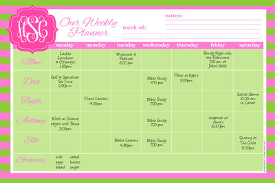Jumbo Desk Planners - Pink Lime Rugby Stripes