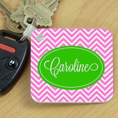 Key Chain- Pink Green Chevron