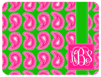 Cutting Board - Pink Paisley Square Monogram
