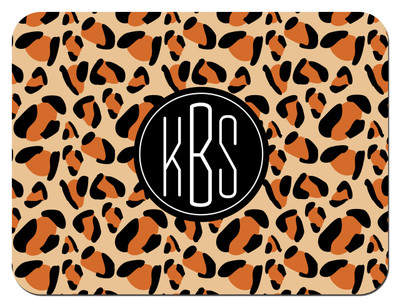 Cutting Board - Leopard Circle Monogram