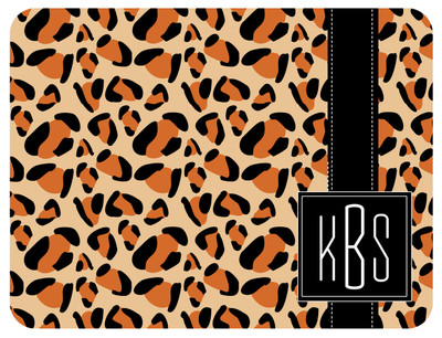 Cutting Board - Leopard Square Monogram