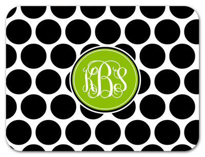 Cutting Board - BW Polka Dots Circle Monogram