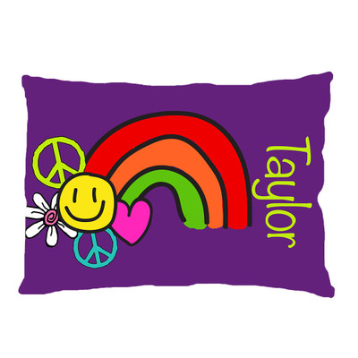 PILLOWCASE-Happy Peace Rainbow