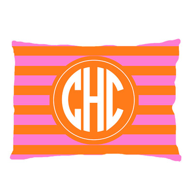 PILLOWCASE-Pink And Orange Rugby Stripe