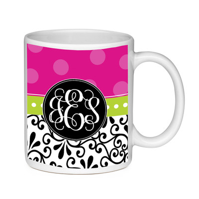 Coffee Mug-Damask and Hot Pink Dots