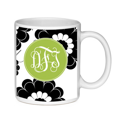 Coffee Mug-Black and Lime Floral