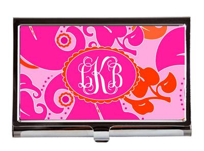 Business Card Case - Pink VIntage Floral
