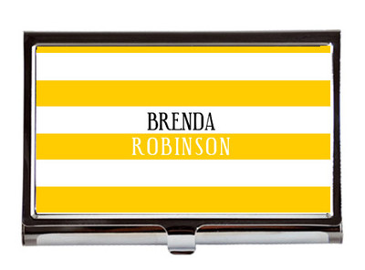 Business Card Case - Yellow Stripes