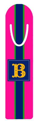 Metal Bookmark- Hot Pink Rugby Stripe