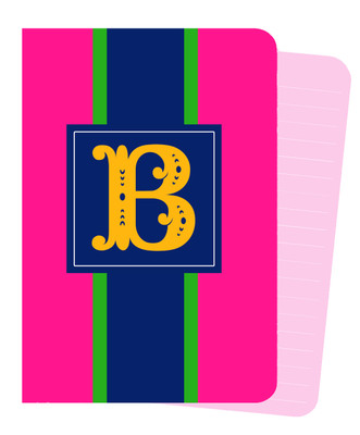 Mini Journals - Hot Pink Rugby Stripe