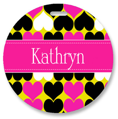 Round Luggage Tag-Hearts