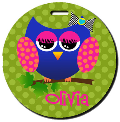 Round Luggage Tag-Allie the Owl