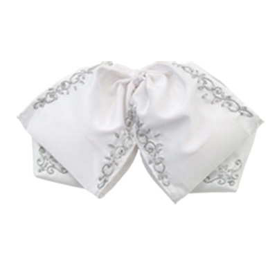 Embroidered Charro Bowtie White/silver
