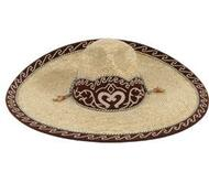 Straw sombrero with suede galon