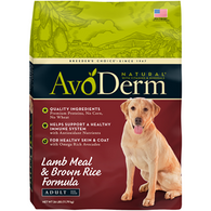 AvoDerm Natural Adult Lamb Meal  & Brown Rice (15 lb)